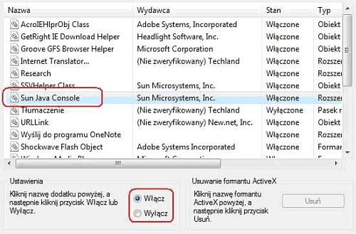 Lista dodatków Internet Explorer