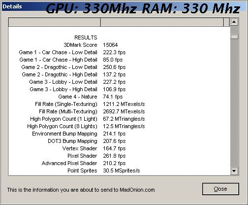 Geforce 6600 overclocking, wyniki benchmarku