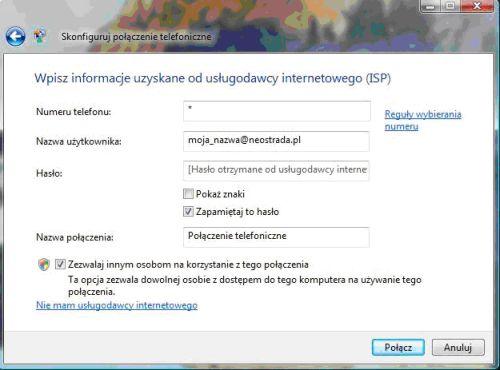 Neostrada Windows Vista, Automatyczne łączenie się z Internetem przez Neostrade