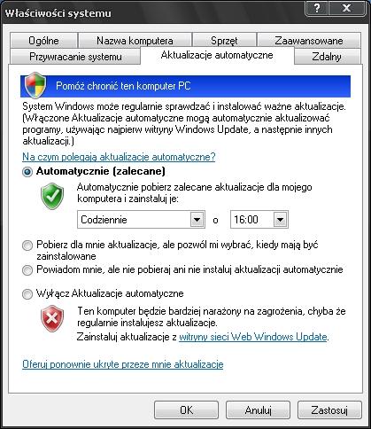 aktualizacja Windows, Windows Update, włączenie aktualizacji
