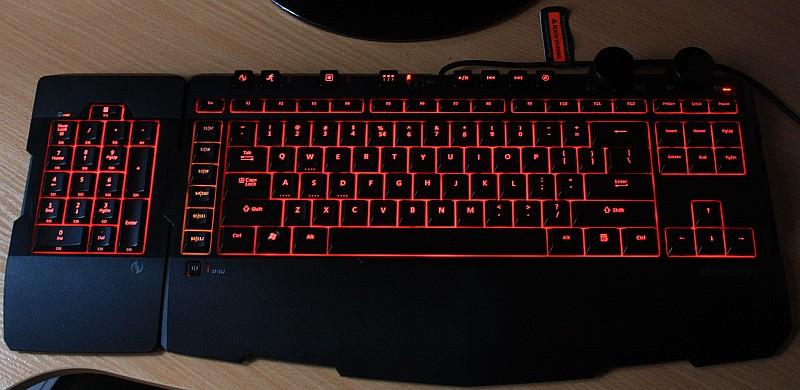 Microsoft Sidewinder X6 podświetlenie klawiatury, podświetlenie klawiatury Microsoft Sidewinder X6, test klawiatury Microsoft Sidewinder X6