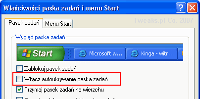 Autoukrywanie paska zadań, właściwości paska zadań, menu Start, pasek zadań