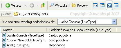 fonts, podobne czcionki, czcionki, czcionki Windows
