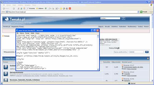 Kod źródłowy HTML, Kod źródłowy strony WWW
