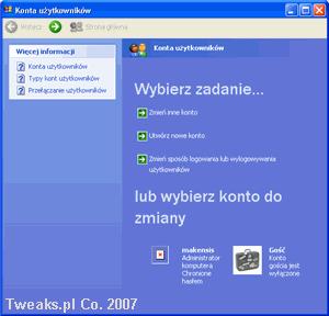 konta użytkowników, zakładanie konta
