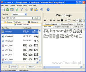 x-fonter, podgląd czcionek, czcionki Windows