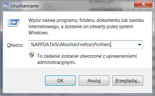 profile Firefox zmiana lokalizacji