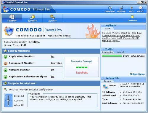 Comodo, zapora sieciowa, firewall