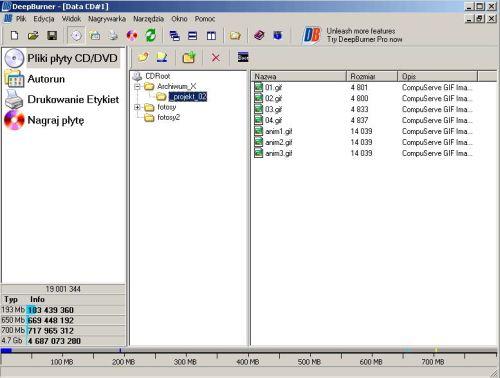 DeepBurner, nagrywanie płyt, DVD, CD