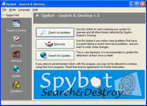 Spybot, usuwanie szpiegujących programów, cookies, spyware