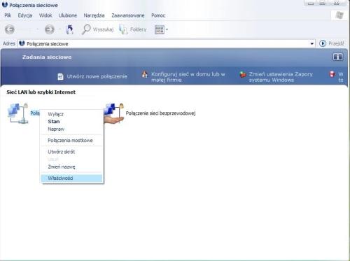 Konfiguracja sieci LAN w Windows XP, Połączenie sieciowe, LAN