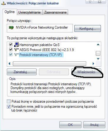 Konfiguracja sieci LAN w Windows XP,Połączenie lokalne, LAN