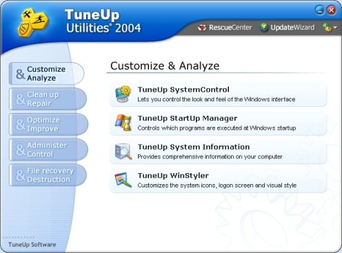 TuneUp Utilities 2012, dostosowanie Windows