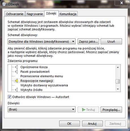 jak wyłączyć dźwięk przy otwieraniu folderów, dźwięki Windows,