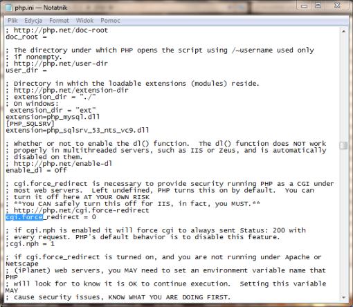 obsługa PHP na IIS 7, php.ini