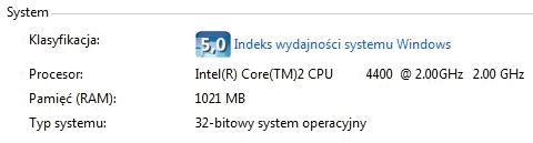 Klasyfikacja wydajności Windows Vista