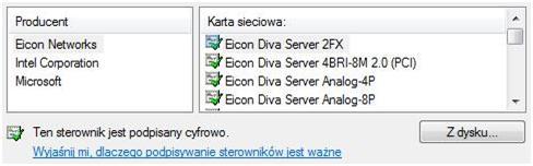 Lista sterowników Windows Vista i 7