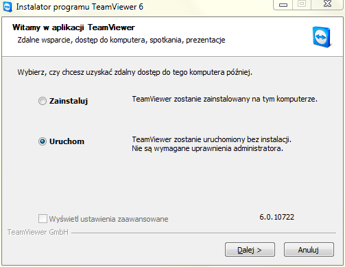 Instalator programu Team Viewer, Team Viewer