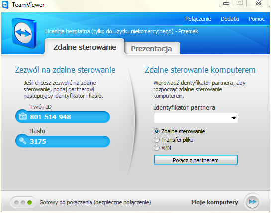Team Viewer, interfejks programu Team Viewer