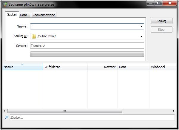 konfiguracja FlashFXP, wyszukiwanie plików na serwerze