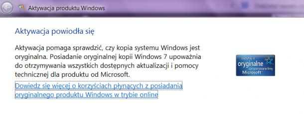Aktywacja Windows zmiana klucza
