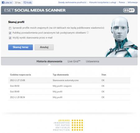 ESET Social Media Scanner - stróż profilu na Facebooku 1