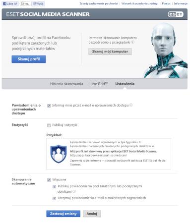 ESET Social Media Scanner - stróż profilu na Facebooku 2