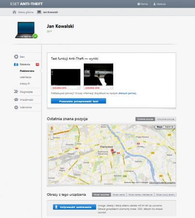 Lokalizacja laptopa z pomocą ESET Anti-Theft