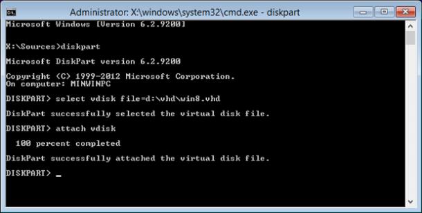 diskpart instalacja Windows do pliku VHD