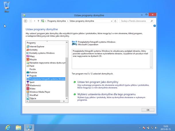 domyśœlny program do otwierania plików Windows 8