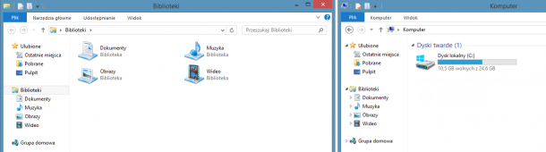 eksplorator Windows widok bibliotek i dysków