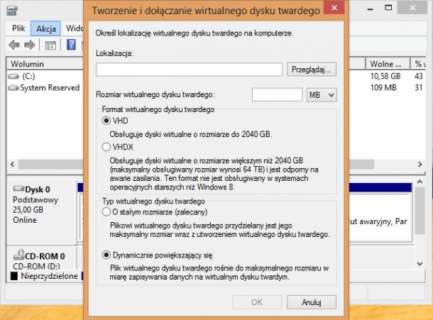 kreator dysku VHD Windows 8