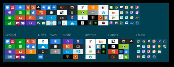 organizacja ekranu startowego Windows 8