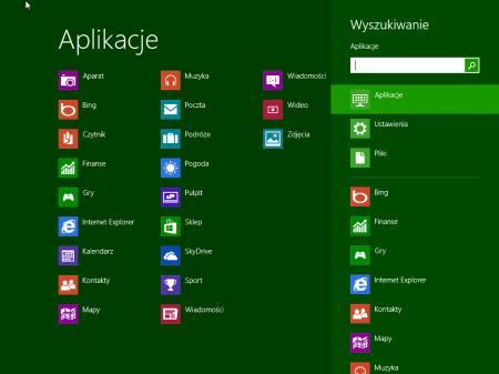 pasek wyszukiwania Windows 8 menu start