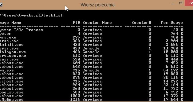 tasklist wiersz poleceń zamykanie procesów Windows 8