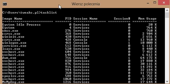Zamykanie Procesów Przez Wiersz Poleceń Windows 8 Tweakspl