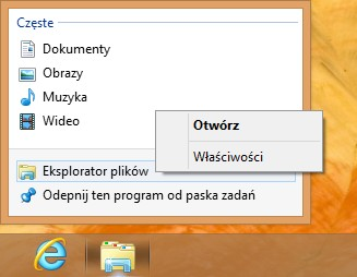 właściwości eksplorator Windows 8