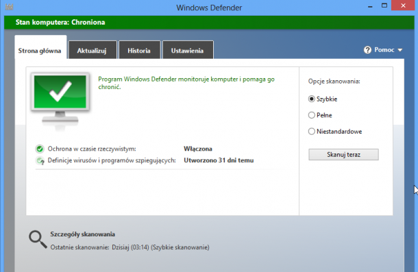 Windows Defender, program antywirusowy Windows 8