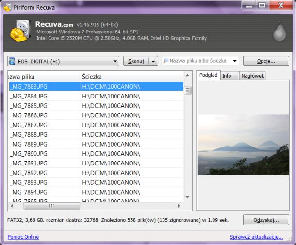 odzyskiwanie utraconych plików program za darmo Recuva
