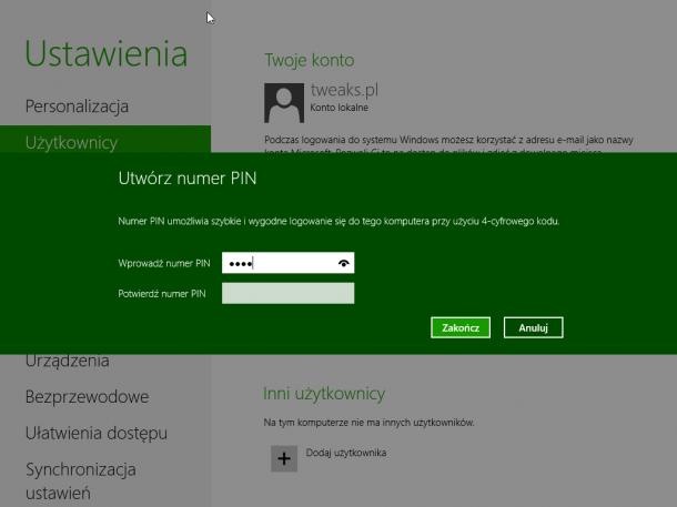 PIN logowanie Windows 8