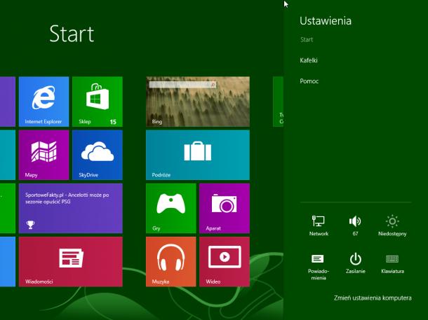 ustawienia kafelki Windows 8