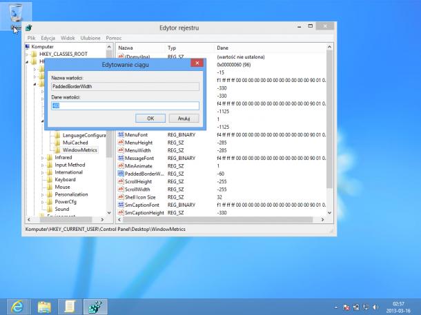 wielkość okna Windows 8