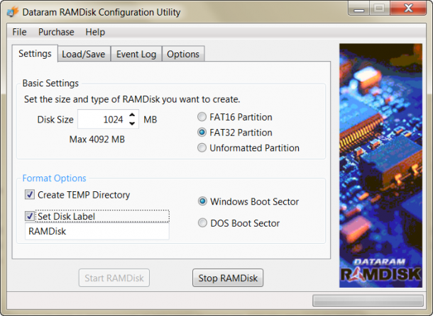 Dataram RAMDISK konfiguracja folderu plików tymczasowych