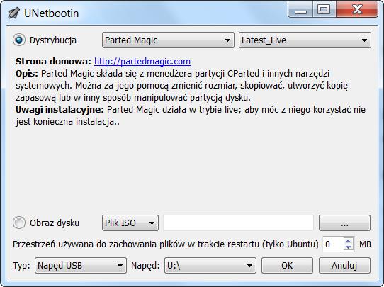 Unetbootin tworzenie nośnika bootowalnego
