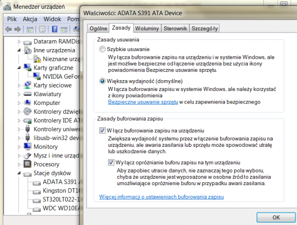 buforowanie dysku Windows 7