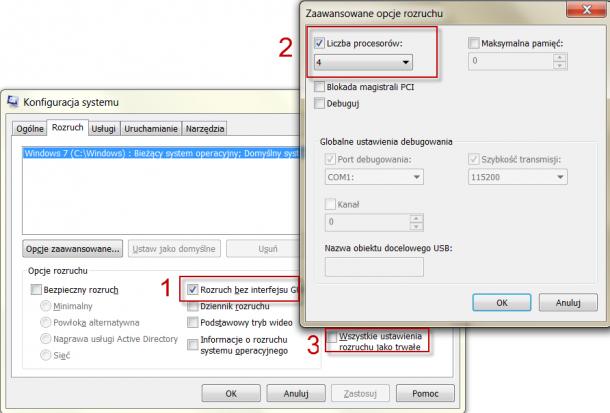 konfiguracja systemu Windows, przyspieszanie ładowania