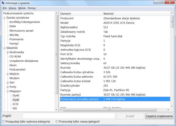 przesunięcie początku partycji SSD msinfo32