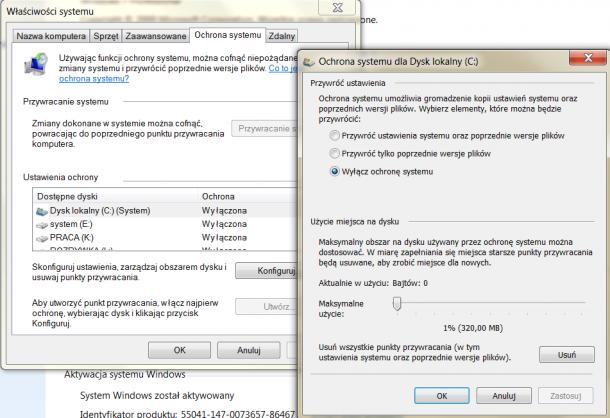 przywracanie systemu Windows wyłączenie funkcji