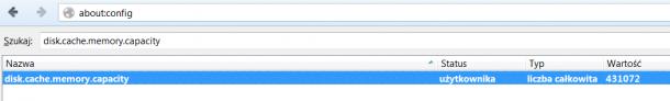 rozmiar cache Firefox