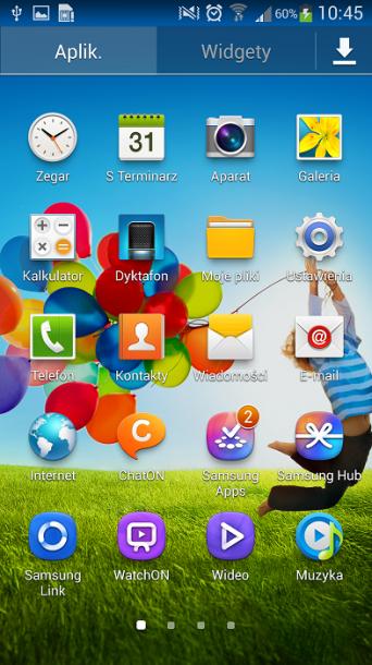 Galaxy S4 menu główne